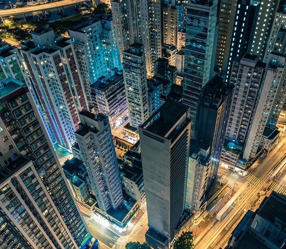 downtown Hong Kong at night